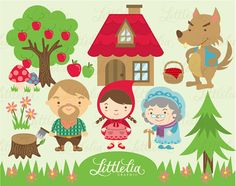 Little Red Riding Hood Clipart - 13008 on Etsy, Wolf Clipart, Bear Clipart, Little Red Ridding Hood, Red Riding Hood, Kawaii, Invitation Fete, Belle And Beast, Psychedelic Drawings, Jack And The Beanstalk