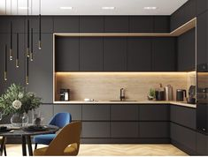 Kitchen Room Design, Kitchen Cabinet Design, Modern Kitchen Design, Kitchen Cabinets, Küchen Design, House Design, Interior Design, Wooden Shelf Design, House Construction Plan