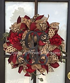 Burlap Wreath with Burgundy Hydrangeas, Burgundy Dupioni, Leopard Print, Polka Dot, & Swirly Ribbons, and Vine Script Letter  Jayne's wreath designs on FB and Instagram