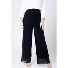 Black cheesecloth pants with wide legs and plisse at elasticized waist. Woven quality in metal mix. Color: Black Material: Metal Polyester Item Fit / Dimensions: Relaxed fit Made In: Spain Shipped From: Spain Lead Time: 1 - 2 Days Trousers Women, Pants For Women, Clothes For Women, New York Fashion Week 2017, Fashion 2017, New Years Eve Dresses, Summer Dresses For Women, Ladies Dresses, Cheese Cloth