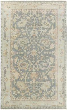 Gray Rectangle Oriental Motif Rug