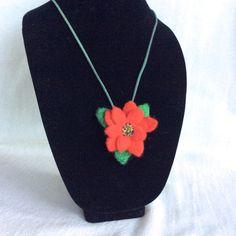 Poinsettia Flower Christmas necklace Christmas by Felt4Soul