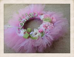 The Lillian Wreath: shabby chic vintage style- pearls-lace-pink green- hospital announcement wreath on Etsy, $87.00
