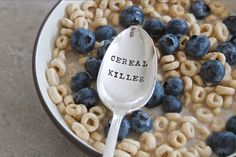 CEREAL KILLER - Hand Stamped Spoon - Vintage Gift -  Every Day Vintage - as seen on thisiswhyimbroke.com