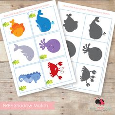 Free Ocean Animal Shadow Match- free printable