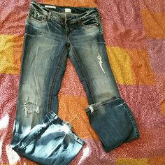JEANS Boot cut Decree distressed jeans worn with love and taken care of. Just don't fit me anymore after pregnancy size 5 Jeans Boot Cut