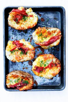 Herbed Twice Baked Potatoes with Creme Fraiche, White Cheddar and Prosciutto