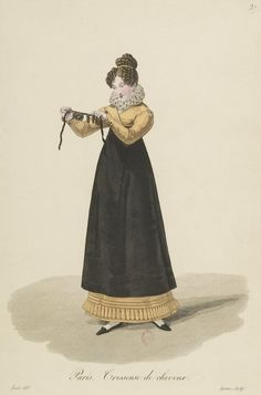 1824 - Costumes d'Ouvrières Parisiennes A lovely Regency lady in Hufflepuff colors! Yellow pelisse and black apron