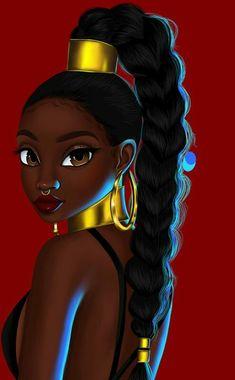 Sexy Black Art, Black Love Art, Black Girl Art, Black Art Painting, Black Artwork, Drawings Of Black Girls, Natural Hair Art, Black Girl Cartoon, Black Art Pictures