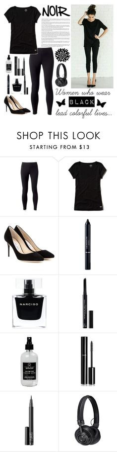"""""""Noir Outfit"""" by whims-and-craze ❤ liked on Polyvore featuring Jockey, Hollister Co., Jimmy Choo, Christian Dior, Narciso Rodriguez, Little Barn Apothecary, Chanel, NARS Cosmetics and Master & Dynamic"""