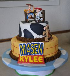 Toy Story Birthday Cake and cakes, cake base covered in lt. blue fondant w/white clouds, bottom tier in yellow/orange. Toy Story Birthday Cake, First Birthday Cakes, 3rd Birthday, Birthday Ideas, Light Year, Cute Cakes, Gum Paste, Cake Ideas, First Birthdays