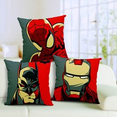 Super Hero Theme Batman Iron Man Spider Man Linen Cotton Fabric Sofa Car Chair Bedding Home Throw Pillows Cushion Cover 18''