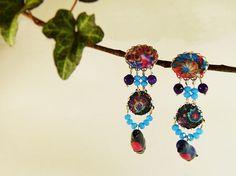 Pink robin earrings purple agate tissue  bird earrings