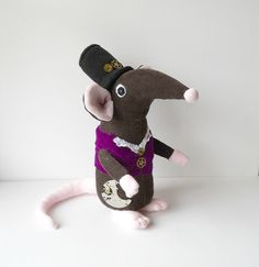 steam punk, plush mouse, plushie, upcycled corduroy, plush animal, soft sculpture, art doll