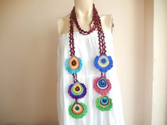 Peacock Crochet Scarf-Peacock Lariat Scarf by dreamhouse1