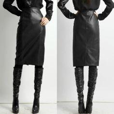 PLUS SIZE High Waist Faux Leather Slim Pencil Skirt TE110 plus1-10x(SZ16-52)