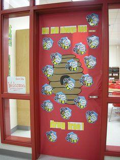 We will always BEE...Drug Free  Red Ribbon Door decorating Idea
