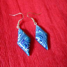 turquoise earrings polymer clay gift for her blue fashion style trendy boho hippie by FloralFantasyDreams on Etsy