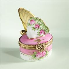 Limoges Butterfly with Roses Box The Cottage Shop