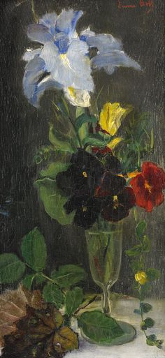 art-and-things-of-beauty:  Emma Toll (1847-1917) - Flower still life, oil on panel, 40 x 18cm.