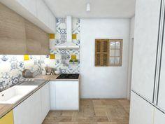 Biela moderná paneláková kuchyňa v škandinávskom dizajne folk