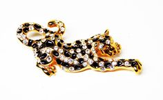 New Listings Daily - Follow Us for UpDates -  Description & Style:  Rhinestone Leopard Brooch - Black & White #Rhinestones Gold Tone Cat - Wild Life Critters #Vintage Figural Pin 1980's 1990's Era Signed Romans offered b... #vintage #jewelry #teamlove #etsyretwt #ecochic #rhinestones #thejewelseeker