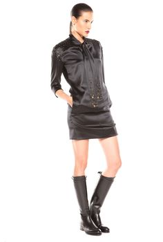 Satin cocktail dress Leather Skirt, Leather Jacket, Satin Cocktail Dress, Austria, Skirts, Designers, Jackets, Fall, Winter