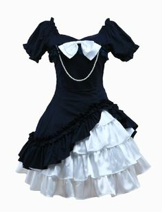 Cotton Applique Lolita One-piece Dress Short Sleeves Pearl String Bow Layers Ruffles Style Lolita, Lolita Mode, Gothic Lolita Fashion, Vintage Outfits, Vintage Fashion, One Piece Dress Short, Day Dresses, Cute Dresses, Fancy Dress Store