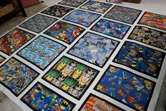 Look, I finished this quilt top! My brother andI layouted out the design for his comic book quilt together. It wanted it to look like a page out of a comic book, only queen sized. I added black bo...