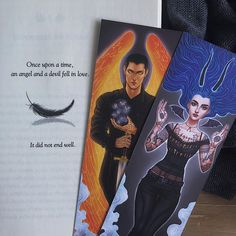 Akiva and Karou bookmarks from illumicrate Laini Taylor, Daughter Of Smoke And Bone, Book Worms, Bookmarks, Falling In Love, Fiction, Characters, Heart, Books