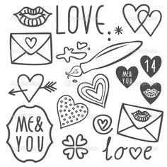 doodles simple valentines easy drawings drawn biglietti amore valentino giorno drawing gray fissati doodle labyrinthe labirinto uppsaettningen klottrar isolated krabbels