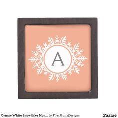Ornate White Snowflake Monogram on Soft Coral Pink Premium Jewelry Box