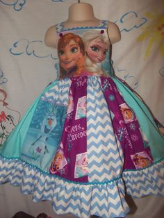 Elza and Anna Frozen Sister 's Forever  Dress Boutique  Sz. 6/7 ,Ready to ship 25 in Length