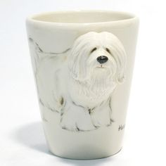 http://www.muddymood.com  Original hand sculpt and hand paint   Havanese Dog Ceramic Mug Handmade.