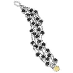 Tacori Black Lightning Sterling Silver Multi-Strand Black Onyx Toggle... ($950) ❤ liked on Polyvore featuring jewelry, bracelets, toggle bracelet, onyx bracelet, sterling silver toggle bracelet, sterling silver bracelet bangle and multi chain bracelet