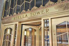 Art Deco ~ New York City | Entrance, Stella Tower, 425 West 50th Street, Hell's Kitchen, Manhattan.  Designed by Ralph Walker, 1927.