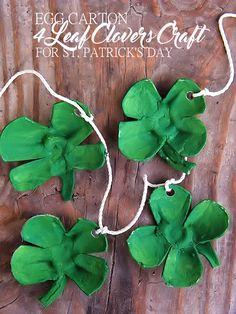 St. Patrick's Day Egg Carton 4 Leaf Clovers Craft