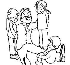 Dibujo De Papa Con Sus 3 Hijos Para Colorear Paginas Para Colorear Paginas Para Colorear Para Ninos Papa Dibujo