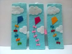 Felt bookmark - kite flying on blue sky I created lots of bookmarks with flower and animal motives. But this is my favourite one. Blue sky with few white clouds and kite flying. For me it gives a sense of freedom, a sense of feeling that everything is possible. Listing is for 1 bookmark Item is made to order (3-5 days) Handmade from wool blend felt. I will end a bookmark with white cloud on the other end of ribbon - the one that hangs out of the book. If you prefer I can end it also with…