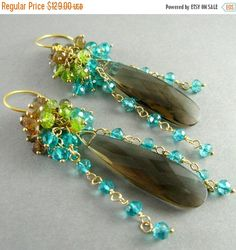 20 % Off Smokey Quartz, Andalusite, Vesuvianite and Teal Quartz Gemstone Cluster Gold Filled Earrings