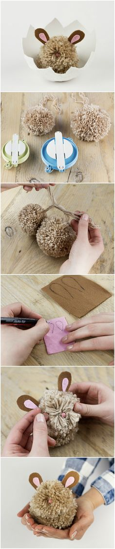DIY-Anleitung für Ostern: Pompom-Hasen als schöne Osterdeko basteln // Easter DIY tutorial: create a cute Easter bunny out of pompoms via DaWanda.com