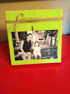 Distressed Wood Block Photo Frame with Twine Bow & Clip Holder (Lime Green) - $12