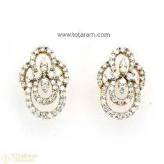 Diamond Earrings for Women in 18K Gold VVS Clarity E-F Color -Indian Diamond Jewelry -Buy Online Diamond Earrings For Women, Diamond Dangle Earrings, Women's Earrings, Diamond Jewelry, Indian Wedding Jewelry, Indian Jewelry, Diamond Jhumkas, Designer Earrings, Necklace Set