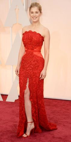Academy Awards 2015 Red Carpet Arrivals - Rosamund Pike from #InStyle #Oscars