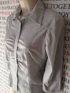 CUE Ladies Pinstriped Zip Front Shirt Blouse SIZE 8 - GUC