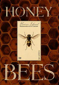 Honey Bees Postage Stamp