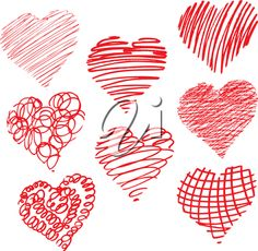 iCLIPART - Clip Art Illustration of Doodle Hearts #clipart #illustration #valentinesday