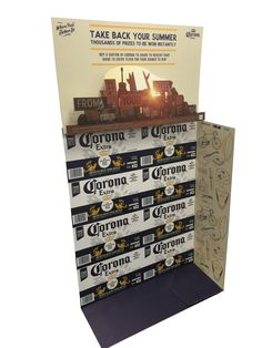 Off-location, freestanding carton display standee with pop-out layers...