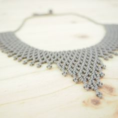 Tejido collar perlas gris ras de cuello pecho collar