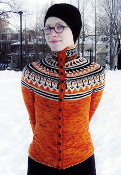 An impossibly beautiful FREE fair isle knitting pattern, inspired by the Dutch speed skating uniforms of the 2010 Winter Olympics Fair Isle Knitting Patterns, Fair Isle Pattern, Knit Patterns, Cardigan Pattern, Knit Cardigan, Icelandic Sweaters, Fair Isles, Knitting Magazine, How To Purl Knit